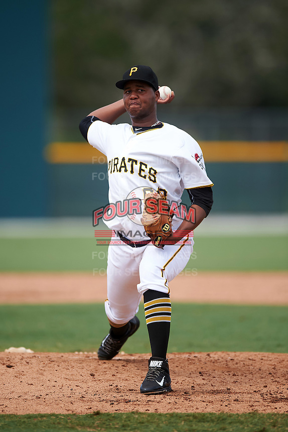 GCL Pirates relief pitcher Miguel Hernandez (68) during a game against the GCL Phillies on August 6, 2016 at Pirate City in Bradenton, Florida.  GCL Phillies defeated the GCL Pirates 4-1.  (Mike Janes/Four Seam Images)