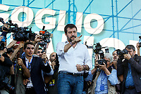 "Italian far-right League party's leader Matteo Salvini gestures to sympathizers as he arrives on the stage during the so-called ""Italian Pride!"" political rally against government's economic policies in St. John Lateran Square, Rome, Italy, October 19, 2019.<br /> Update Images Press/Riccardo De Luca"