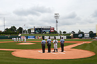 National anthem before a NW Arkansas Naturals game against the Corpus Christi Hooks on May 26, 2014 at Arvest Ballpark in Springdale, Arkansas.  NW Arkansas defeated Corpus Christi 5-3.  (Mike Janes/Four Seam Images)