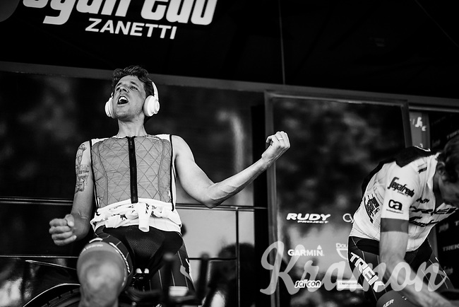 Koen de Kort (NED/Trek-Segafredo) rocking it out during the pre-race warm-up (probably the new JBL headphones working up...)<br /> <br /> Stage 3 (Team Time Trial): Cholet > Cholet (35km)<br /> <br /> 105th Tour de France 2018<br /> ©kramon