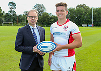 Monday 12th August 2019 | Ulster Schools U18<br /> <br /> Dalriada School and Ulster Schools U18 captain James McCormick is pictured with Richard Caldwell representing the sponsors Danske Bank during a photo call at the Ulster Schools training base at Newforge Country Club, Belfast, Northern Ireland. Photo by John Dickson / DICKSONDIGITAL