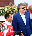 Bricks and Mortar  (no.1) wins the Grade II 2017 National Museum of Racing Hall of Fame Stakes  Aug 4 at Saratoga Race Course, Saratoga Springs, NY.  The winner, ridden by Joel Rosario and trained by Chad Brown, won by 3/4 lengths over the  1 1/16 miles on the Turf.  (Bruce Dudek/Eclipse Sportswire)