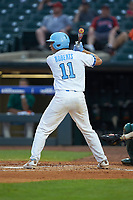 Cody Roberts (11) of the North Carolina Tar Heels at bat against the Miami Hurricanes in the second semifinal of the 2017 ACC Baseball Championship at Louisville Slugger Field on May 27, 2017 in Louisville, Kentucky. The Tar Heels defeated the Hurricanes 12-4. (Brian Westerholt/Four Seam Images)