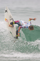American Evan Geiselman almost straight up an down during round of 48 at the 2010 US Open of Surfing in Huntington Beach, California on August 5, 2010.