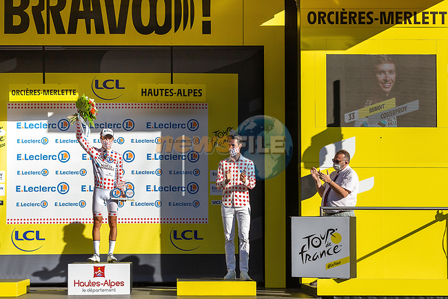 Benoit Cosnefroy (FRA) AG2R La Mondial retains the mountains Polka Dot Jersey at the end of Stage 4 of Tour de France 2020, running 160.5km from Sisteron to Orcieres-Merlette, France. 1st September 2020.<br /> Picture: ASO/Herve Tarrieu | Cyclefile<br /> All photos usage must carry mandatory copyright credit (© Cyclefile | ASO/Herve Tarrieu)