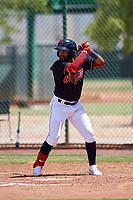AZL Indians Blue Aaron Bracho (7) at bat during an Arizona League game against the AZL Indians Red on July 7, 2019 at the Cleveland Indians Spring Training Complex in Goodyear, Arizona. The AZL Indians Blue defeated the AZL Indians Red 5-4. (Zachary Lucy/Four Seam Images)