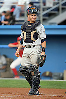 August 23 2008:  Catcher Michael Valadez of the Mahoning Valley Scrappers, Class-A affiliate of the Cleveland Indians, during a game at Dwyer Stadium in Batavia, NY.  Photo by:  Mike Janes/Four Seam Images
