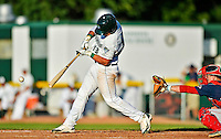 30 June 2012: Vermont Lake Monsters catcher Bruce Maxwell in action against the Lowell Spinners at Centennial Field in Burlington, Vermont. Mandatory Credit: Ed Wolfstein Photo