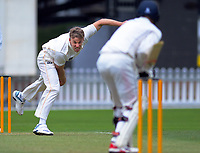 Logan Van Beek bowls during day two of the Plunket Shield cricket match between the Wellington Firebirds and Auckland at Basin Reserve in Wellington, New Zealand on Saturday, 9 November 2019. Photo: Dave Lintott / lintottphoto.co.nz