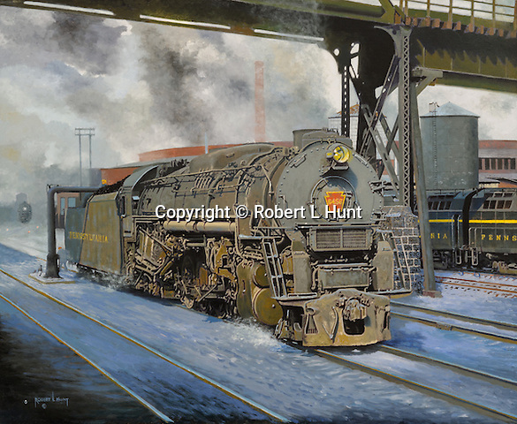 """A large Pennsylvania Railroad J1 steam locomotive taking on water in East Altoona during the last days of steam railroading in 1955. Oil on canvas, 23"""" x 28""""."""