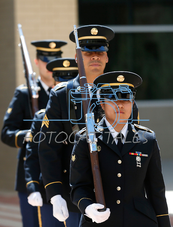 The Nevada Army National Guard Color Guard retrieves the colors at the annual Flag Day ceremony at the Nevada Veterans Memorial on the Capitol grounds in Carson City, Nev., on Friday, June 14, 2019. <br /> Photo by Cathleen Allison/Nevada Momentum