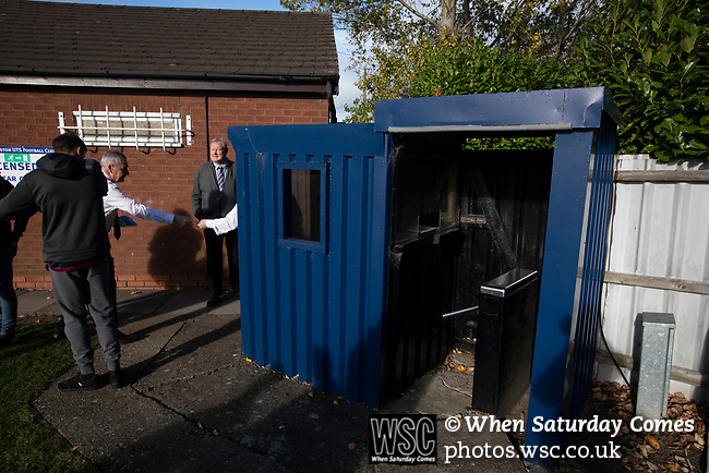 Home club officials on duty awaiting the arrival of fans at the UTS Stadium before the FA Cup fourth qualifying round match between Dunston UTS and their local rivals Gateshead. Founded in 1975, the home team were formerly known as Dunston Federation. The visitors won 4-0 watched by a record crowd of 2,500.
