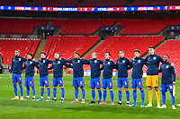 25th March 2021; Wembley Stadium, London, England;  England Team sing their national anthem prior to the World Cup 2022 Qualification match between England and San Marino at Wembley Stadium in London, England.