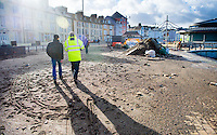 Aberystwyth Wales UK, Tuesday 09 February 2016<br /> UK weather: Council workers during the process of cleaning up the damage caused by Storm Imogen in its aftermath, after it hit Aberystwyth, west Wales