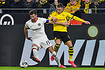 14.02.2020, Signal Iduna Park, Dortmund, GER, 1. BL, Borussia Dortmund vs Eintracht Frankfurt, DFL regulations prohibit any use of photographs as image sequences and/or quasi-video<br /> <br /> im Bild / picture shows / v. li. im Zweikampf David Abraham (#19, Eintracht Frankfurt) Thorgan Hazard (#23, Borussia Dortmund) <br /> <br /> Foto © nordphoto/Mauelshagen