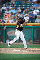 Sherman Johnson (5) of the Salt Lake Bees bats against the New Orleans Baby Cakes at Smith's Ballpark on June 8, 2018 in Salt Lake City, Utah. Salt Lake defeated New Orleans 4-0.  (Stephen Smith/Four Seam Images)