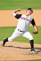 Jacob Wilson #9 of the Kannapolis Intimidators in action against the Hagerstown Suns at Fieldcrest Cannon Stadium on May 30, 2011 in Kannapolis, North Carolina.   Photo by Brian Westerholt / Four Seam Images
