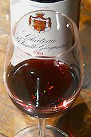 Chateau la Voulte Gasparets. In Gasparets village near Boutenac. Les Corbieres. Languedoc. France. Europe. Bottle. Wine glass.