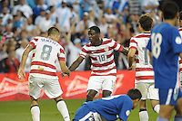 U.S midfielder Clint Dempsey celebrates his goal with team mate Eddie Johnson..USMNT defeated Guatemala 3-1 in World Cup qualifying play at LIVESTRONG Sporting Park, Kansas City, KS.