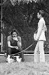 AUDREY HEPBURN CON IL FIGLIO SEAN FERRER<br /> VILLA BORGHESE ROMA 1981