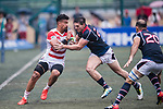 Malgene Ilaua of Japan (L) in action during the Asia Rugby Championship 2017 match between Hong Kong and Japan on May 13, 2017 in Hong Kong, China. Photo by Marcio Rodrigo Machado / Power Sport Images