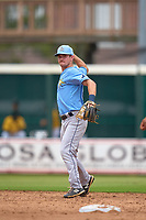 FCL Rays shortstop Ben Troike (86) throws to first base during a game against the FCL Pirates Gold on July 26, 2021 at LECOM Park in Bradenton, Florida. (Mike Janes/Four Seam Images)