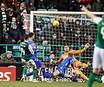 08.03.2019 Hibs v Rangers: Stevie Mallan's shot is deflected away by Joe Worrall