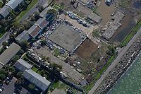 aerial photograph of demolition debris, Treasure Island, San Francisco, California