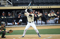 Shane Muntz (11) of the Wake Forest Demon Deacons at bat against the Notre Dame Fighting Irish at David F. Couch Ballpark on March 10, 2019 in  Winston-Salem, North Carolina. The Demon Deacons defeated the Fighting Irish 7-4 in game one of a double-header.  (Brian Westerholt/Four Seam Images)