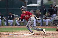 AZL Diamondbacks second baseman Blaze Alexander (3) follows through on his swing during an Arizona League game against the AZL White Sox at Camelback Ranch on July 12, 2018 in Glendale, Arizona. The AZL Diamondbacks defeated the AZL White Sox 5-1. (Zachary Lucy/Four Seam Images)