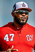21 February 2019: Washington Nationals infielder Howie Kendrick warms up during a Spring Training workout at the Ballpark of the Palm Beaches in West Palm Beach, Florida. Mandatory Credit: Ed Wolfstein Photo *** RAW (NEF) Image File Available ***