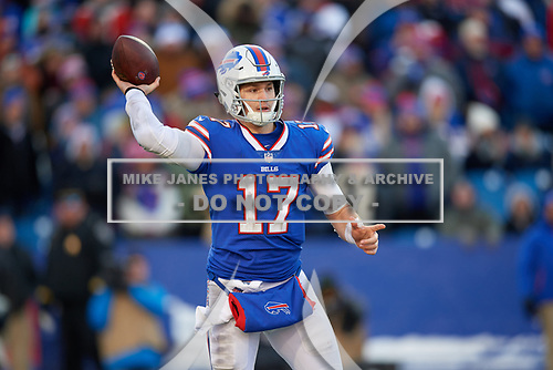 Buffalo Bills quarterback Josh Allen (17) passes during an NFL football game against the New York Jets, Sunday, December 9, 2018, in Orchard Park, N.Y.  (Mike Janes Photography)