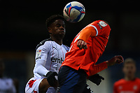 4th May 2021; Kenilworth Road, Luton, Bedfordshire, England; English Football League Championship Football, Luton Town versus Rotherham United; Wes Harding of Rotherham United challenges Kai Naismith of Luton Town