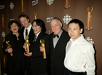 "Montreal (Qc) CANADA - March 29 2009 - Jutras award  Gala (for Quebec Cinema) :Bernadette Payeur, Benoit Pilon, Natar Ungalaaq, Rene Chenier, Paul-Andre Brasseur, Meilleur film (Best movie) , Ce qu""il faut pour vivre (The Necessities of Life aka Inuujjutiksaq) ,"
