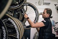 mechanic Glen Leven of Team trek-Segafredo at work in the team truck<br /> <br /> 104th Tour de France 2017<br /> Stage 12 - Pau › Peyragudes (214km)