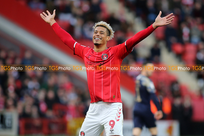 Lyle Taylor, scorer of Charlton's opening goal during Charlton Athletic vs Barnsley, Sky Bet EFL Championship Football at The Valley on 1st February 2020