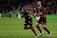 1st May 2021; Bankwest Stadium, Parramatta, New South Wales, Australia; A League Football, Western Sydney Wanderers versus Sydney FC; James Troisi of Western Sydney Wanderers congratulates Bruce Kamau of Western Sydney Wanderers on scoring in the 12th minute to make it 1-0