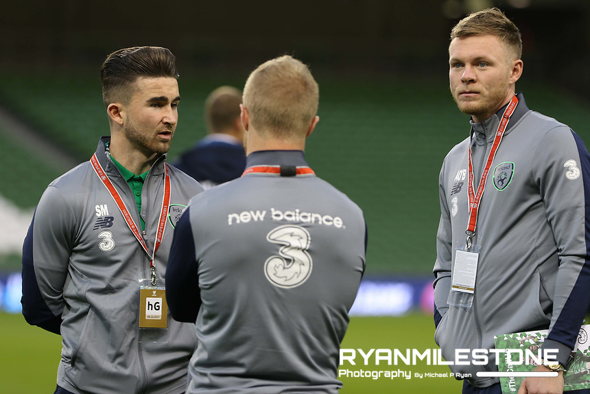 2018 FIFA World Cup Qualifying Round,<br /> Republic of Ireland vs Moldova,<br /> Friday 6th October 2017,<br /> Aviva Stadium, Dublin.<br /> Republic Of Ireland players Sean Maguire, Daryl Horgan and Aiden O'Brien before the start of the game.<br /> Photo By: Michael P Ryan