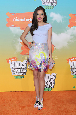 INGLEWOOD, CA - MARCH 12: Lilimar at Nickelodeon's 2016 Kids' Choice Awards at The Forum on March 12, 2016 in Inglewood, California. Credit: mpi24/MediaPunch