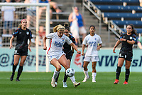 BRIDGEVIEW, IL - JULY 18: Leah Pruitt #35 of the OL Reign plays the ball during a game between OL Reign and Chicago Red Stars at SeatGeek Stadium on July 18, 2021 in Bridgeview, Illinois.
