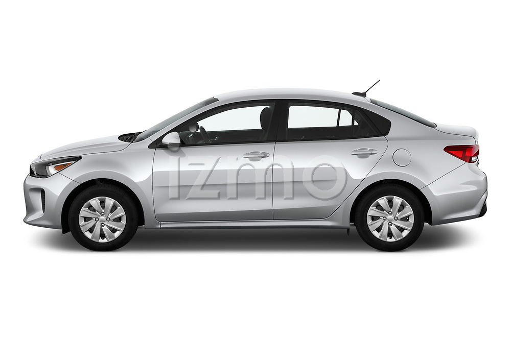 Car driver side profile view of a 2019 KIA Rio S 4 Door Sedan