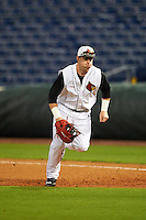 Louisville Cardinals first baseman Brendan McKay (38) during practice before a game against the Maryland Terrapins on February 18, 2017 at Spectrum Field in Clearwater, Florida.  Louisville defeated Maryland 10-7.  (Mike Janes/Four Seam Images)