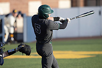 Michigan State outfielder Joe Stewart (5) swings the bat against the Michigan Wolverines on March 21, 2021 in NCAA baseball action at Ray Fisher Stadium in Ann Arbor, Michigan. Michigan scored 8 runs in the bottom of the ninth inning to defeat the Spartans 8-7. (Andrew Woolley/Four Seam Images)
