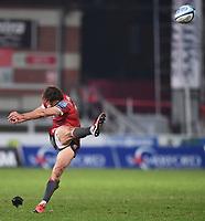 2nd January 2021; Kingsholm Stadium, Gloucester, Gloucestershire, England; English Premiership Rugby, Gloucester versus Sale Sharks; Lloyd Evans of Gloucester kicks a penalty