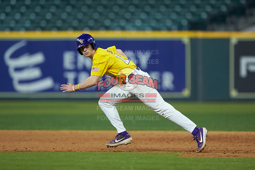 Collier Cranford (16) of the LSU Tigers takes off for second base during the game against the Oklahoma Sooners in game seven of the 2020 Shriners Hospitals for Children College Classic at Minute Maid Park on March 1, 2020 in Houston, Texas. The Sooners defeated the Tigers 1-0. (Brian Westerholt/Four Seam Images)