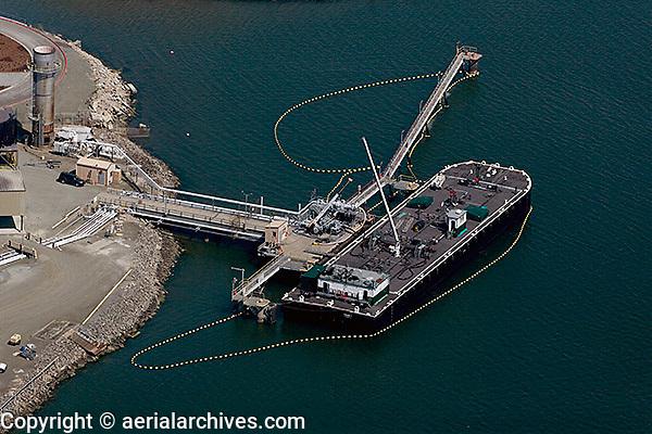 aerial photograph oil boom petroleum barge Port of Richmond, California