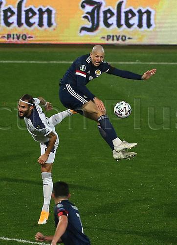 12th November 2020; Belgrade, Serbia; European International Football Playfoff Final, Serbia versus Scotland;  Nemanja Gudelj of Serbia lifts a boot on Lyndon Dykes of ScotlandxINxSER