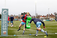 London Scottish attack the pads during the Greene King IPA Championship match between Ealing Trailfinders and London Scottish Football Club at Castle Bar , West Ealing , England  on 19 January 2019. Photo by Carlton Myrie/PRiME Media Images