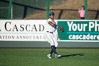 Everett AquaSox right fielder Jansiel Rivera (36) prepares to make a throw to the infield during a Northwest League game against the Tri-City Dust Devils at Everett Memorial Stadium on September 3, 2018 in Everett, Washington. The Everett AquaSox defeated the Tri-City Dust Devils by a score of 8-3. (Zachary Lucy/Four Seam Images)