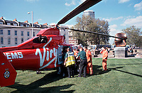 HEMS, helicopter emergency medical service, paramedics and doctors and ambulance crews load a patient onto the helicopter on a stretcher to rush him to the crash room of the A&E department of a hospital. This image may only be used to portray the subject in a positive manner..©shoutpictures.com..john@shoutpictures.com